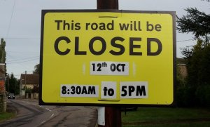 Advance notice of Road Closure at Caldecott on Friday 12th October.