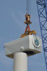 Wind turbine nacelle being lowered into position